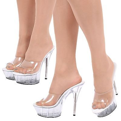 Womens Ladies Shoes Stilettos High Heel Platform Peep Toe Mules Sandals Size New