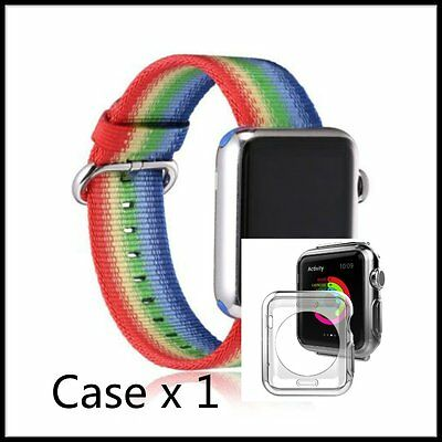 Stripes Rainbow Woven Nylon Wrist Band Strap Bracelet For Apple i Watch 38mm