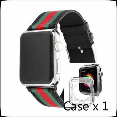 Stripes Mix Color Woven Nylon Wrist Band Strap Bracelet For Apple iWatch 42mm
