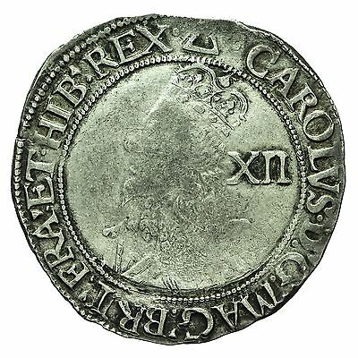 CHARLES I HAMMERED SILVER SHILLING mm TRIANGLE S2797