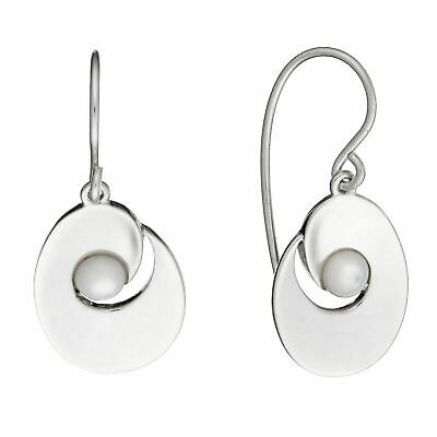 Silverly 925 Sterling Silver Mother of Pearl Oval Oyster Elegant Dangle Earrings