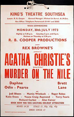 MURDER ON THE NILE 1973 Agatha Christie THEATRE POSTER Southsea