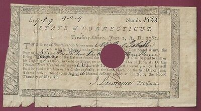 Continental Army Connecticut Soldier's Pay Bond, 1782, Signed by John Lawrence