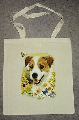 Jack Russell Terrier Butterfly Design Tote Shopping Bag