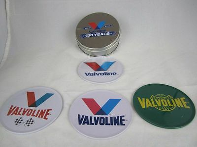 VALVOLINE 150th Anniversary Metal Tin 4 Coasters Cork 1866 OIL Advertising NEW