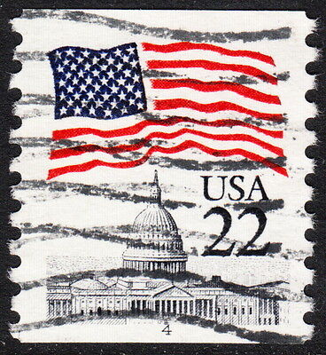 Usa — Scott 2115 — 22¢ Flag Over Capitol — Erie Blue #4 Used Pnc Single — Rare