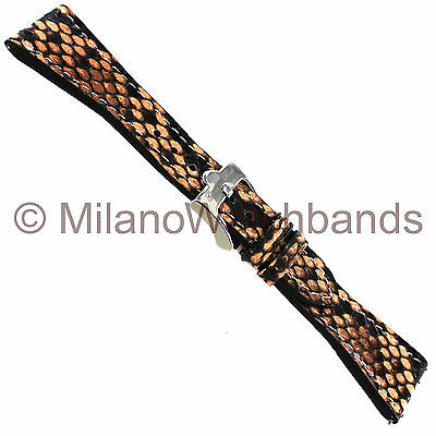 22mm Glam Rock High Quality Hand Made Genuine Python Peach Straight Watch Band