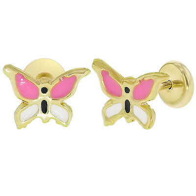 14k Gold Plated Small Pink Butterfly Safety Stud Baby Girls Earrings