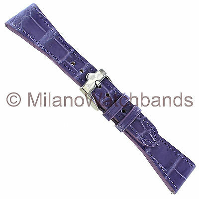 22mm Glam Rock High Quality Hand Made Purple Genuine Alligator Ladies Watch Band