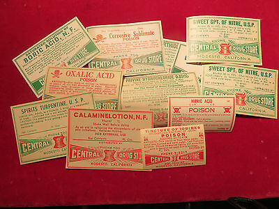 Medicine Labels, Modesto, Calif., Central Drug, lot of 12