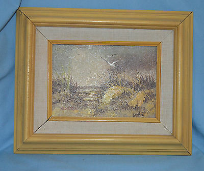 Vintage Bowen Original Painting Seagulls and Sand Beach Scene Oil on Canvas