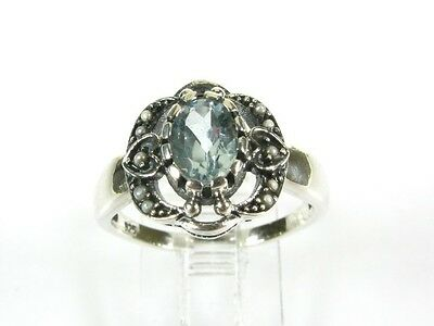 1ct Natural Blue Topaz & Pearl Victorian Deco Sterling Filigree Heart Ring 1015B