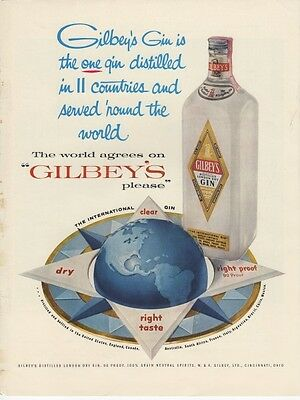 Vintage 1957 W. & A. Gilbey Distrillers Gilbey's Gin Original Print Ad