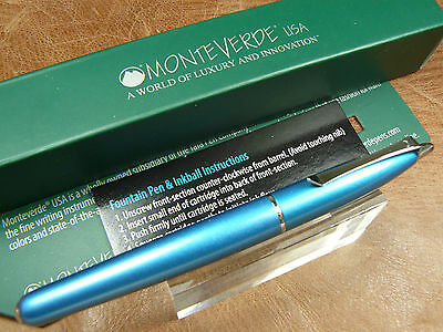 Monteverde Poquito Inkball Pen In Turquoise Cartridge Fill Rollerball New/box