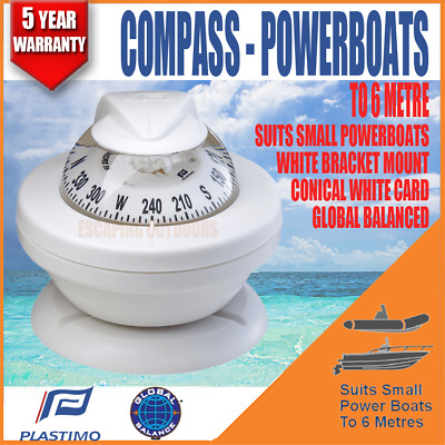 White Plastimo Offshore 55 compass for Powerboats to 6m Marine (also in Black)