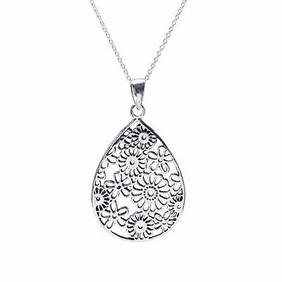 18-Inch Rhodium Plated Necklace with 4mm Topaz Birthstone Beads and Sterling Silver Saint Paula Charm.