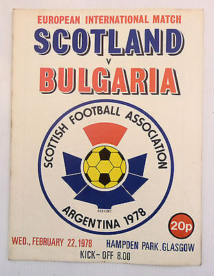 SCOTLAND v BULGARIA HAMPDEN PARK 22 FEBRUARY 1978 FRIENDLY INTERNATIONAL