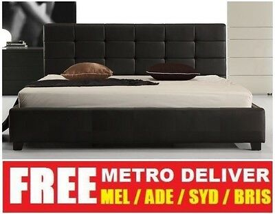 Milan Double Queen Or King Size Black White Pu Leather Wooden Bed Frame