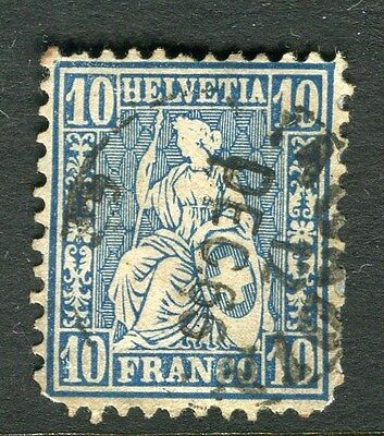 SWITZERLAND;   1860s early Sitting Helvetia issue used 10c. value