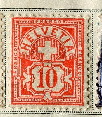 SWITZERLAND;  1882 early numeral issue Mint hinged 10c. value