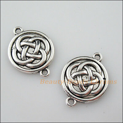 4Pcs Tibetan Silver Tone Round China Knot Charms Pendants Connectors 20x26mm