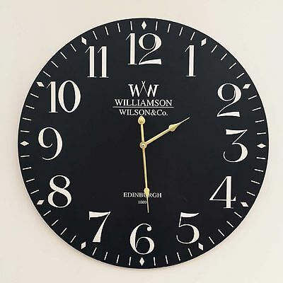 60cm Large Classic Vintage Black Chic Round MDF New Rustic Home Time Wall Clock