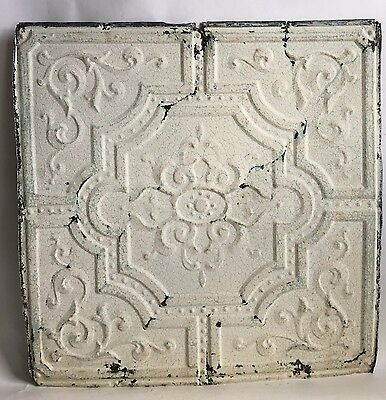"1890's 24"" x 24"" Antique Reclaimed Tin Ceiling Tile White C71 Anniversary"