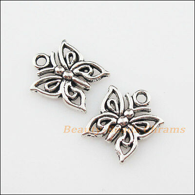 25Pcs Tibetan Silver Tone Lovely Tiny Butterfly Charms Pendants 12.5x15mm