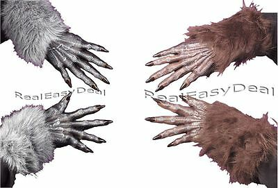 Werewolf Wolf Furry Hands Gloves Grey or Brown Adult Halloween Fancy Dress