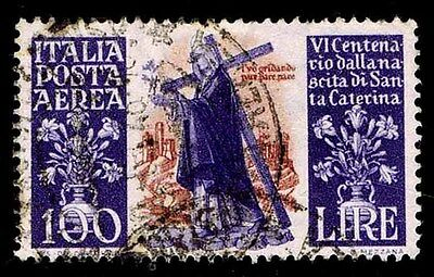 1948 Italy #c127 Airmail - St. Catherine Of Sienna- Used - Vf - Cv$37.50(E#1452)