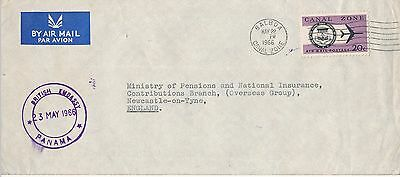 Panama Canal Zone Airmail To Newcastle British Embassy Handstamp