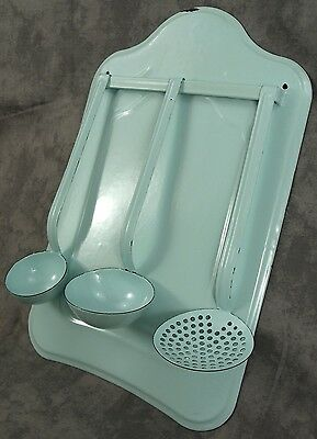 French Country Seafoam Green Enamel Utensil Rack With 3 Piece Ladle Set