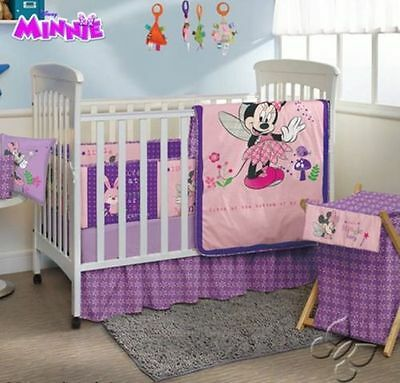 NEW Girls Pink Purple Disney Baby Minnie Mouse Crib Bedding Nursery Set