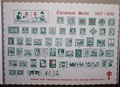 U.S. Christmas Seals Place Mat - Shows All U.S. Seals from 1907 to 1959