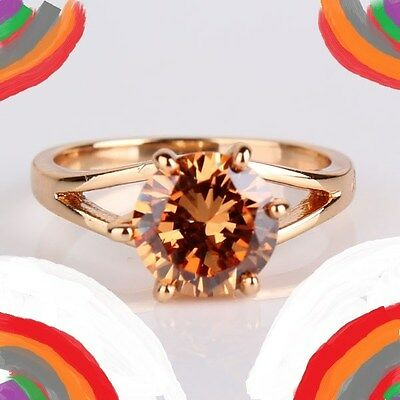 New Size 8 3/4 Ring + Free Gift Box! haunting citrine gold filled clarity 8.75