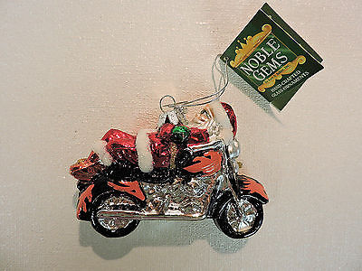 Noble Gems KSA Blown Glass Christmas Ornament KICK BACK MOTORCYCLE SANTA -  NWT