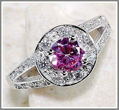 2CT Pink Sapphire & White Topaz 925 Solid Genuine Sterling Silver Ring Sz 8