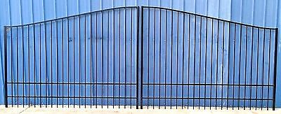 Custom Built Steel - Iron Driveway Entry Gate 16 Ft Wide Dual Swing Residential