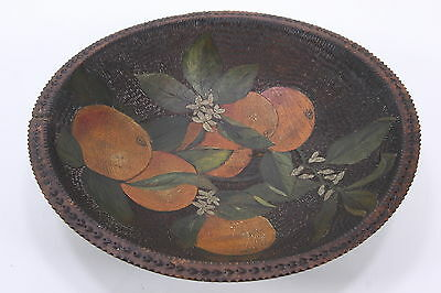 """Hand Carved Hand Painted Wooden Oval Bowl Oranges Double Sided 11 x 12"""" Artisan"""
