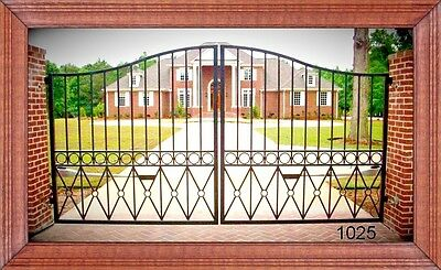 Wrought Iron Driveway Entry Gate 12ft Wide Dual Swing. Fencing, Handrails. Beds.