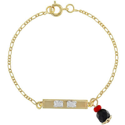 18k Gold Plated Simulated Azabache Charm Evil Eye Protection Kids Bracelet 6""