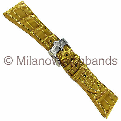 26mm Glam Rock High Quality Hand Made Stitched Genuine Alligator Beige WatchBand