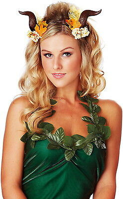 Woodland Fairy Adult Women Costume Accessory Flowers Leaves Lace Horn Headband