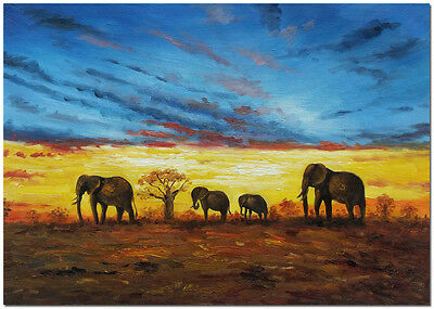 """African Art of Sunset Landscape - Hand Painted Elephant Oil Painting 24x16"""""""