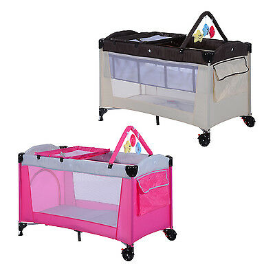 Baby Travel Cot Portable Toddler PlayPen Bed Diaper Change Rack Bassinet W/ Toy