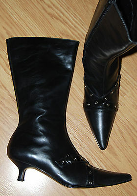 90s VIA PIAZZA Pointy toe black LEATHER sexy PUNK Rock Metal Pirate tall BOOTS 8