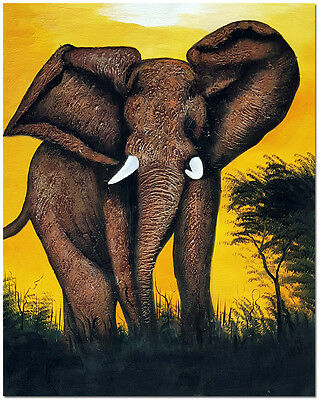 Hand Painted African Elephant Oil Painting On Canvas -  Wildlife Animal Wall Art