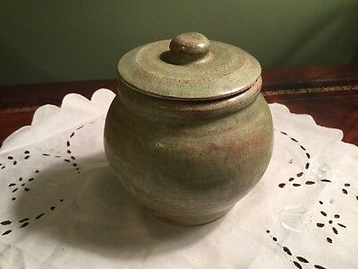 1930s Greene Top Petersham MA Marked Bowl Jar Lid  Pottery HENRY Jewett Green