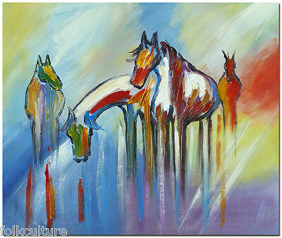 Signed Hand Painted Modern Abstract Horse Oil Painting Fine Art On Canvas