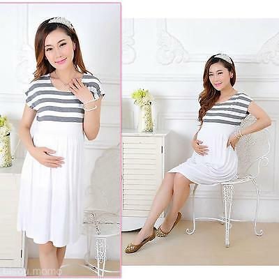 Stripe Pregnant Women Dress Short Sleeve Nursing Maternity Dress Mother Clothes